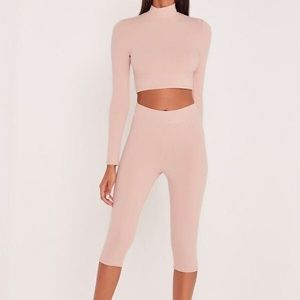 Missguided carli Bybel pink high waisted leggings